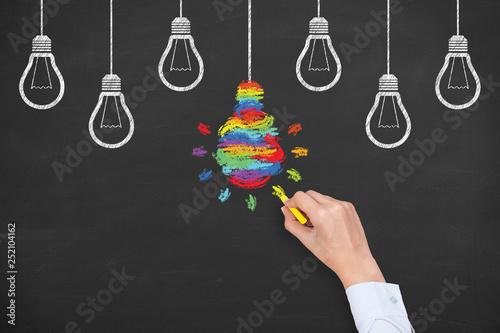 Valokuva  Creative idea concepts with light bulbs on a blackboard background
