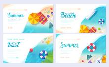 Summer Vecetion Time. Ecology Brochure Card Set. Outdoor Template Of Flyear, Web Banner, Ui Header, Enter Site. Layout Invintation Modern Slider