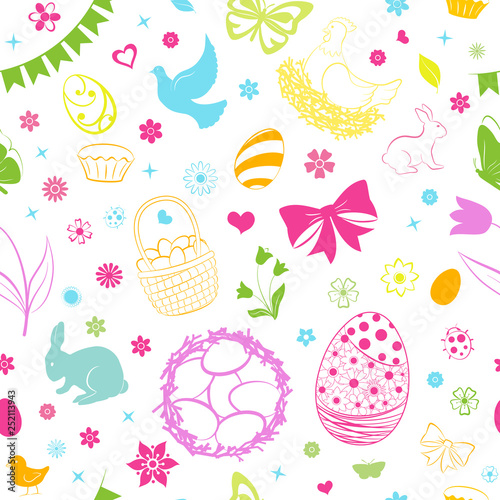 Poster Hibou Seamless pattern of eggs, flowers, cakes, hare, hen, chicken and other Easter symbols, multicolored on white