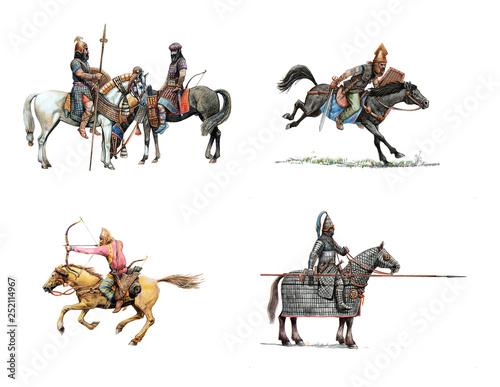Ancient mounted warriors Fototapeta