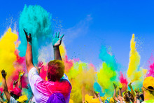 Crowd Throws Colored Powder At...