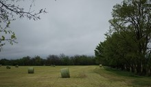 Hay Bales On A Cloudy Day