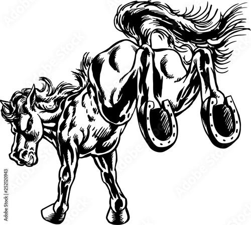 Mustang Kick Mascot Vector Illustration Canvas Print