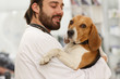 Closeup of adorable and cute dog at hospital for pet. Doctor holding dog during medical examination in vet modern clinic.Friendly domestic dog looking at camera.