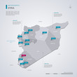 Syria vector map with infographic elements, pointer marks.