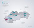 Slovakia vector map with infographic elements, pointer marks.