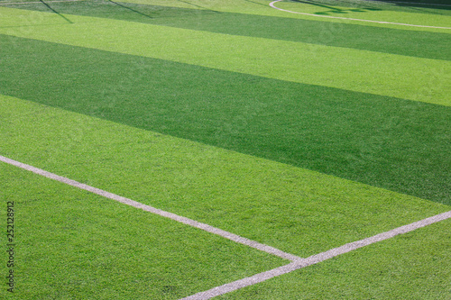 Fototapety, obrazy: The white Line marking on the artificial green grass soccer field