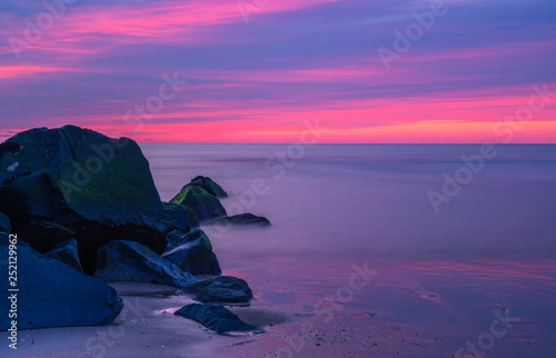 Colorful sunrise over Ocean Grove beach in New Jersey  Shot