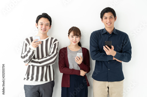 Fotografía  portrait of young asian group on white background