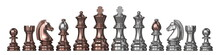 Silver And Bronze All Chess Pieces 3D