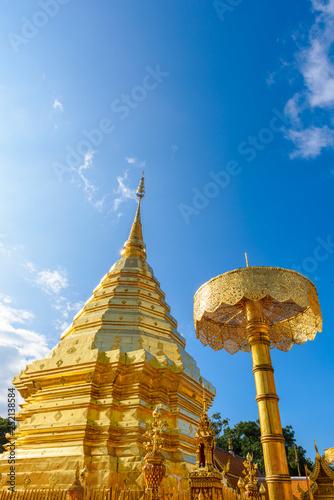 Fotografie, Obraz  Golden pagoda at Phra That Doi Suthep Temple at Doi Suthep mountain in Chiang Mai, Thailand