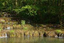 Travertine Terraces, Travertine Creek In The Natural Monument Lillachtal, Weissenohe-Dorfhaus, Franconian Switzerland Natural Preserve, Upper Franconia, Franconia, Bavaria, Germany, Europe