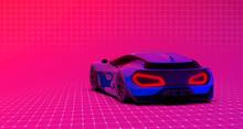 Futuristic Hi Tech Sports Car On Colorful Background (3D Illustration)