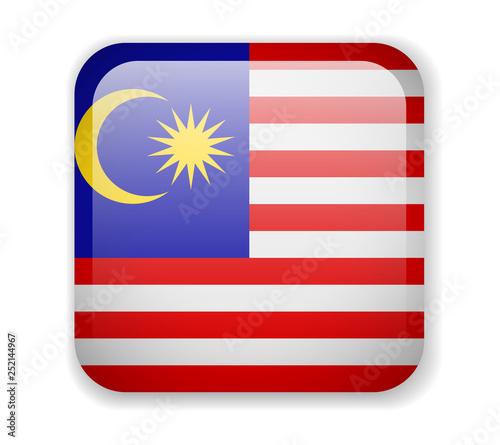 Fotografía  Malaysia flag bright square icon. Vector Illustration