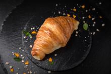 Sweet Soft Buns. Croissant With Custard. Bakery