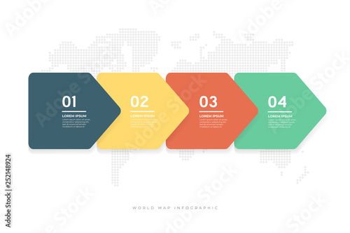 Vászonkép  Abstract minimal arrows design with world map background infographic template