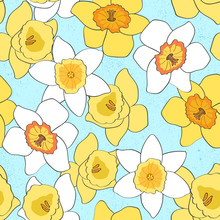 Seamless Repeat Pattern With Large Blooming Yellow Daffodils On A Blue Background With Texture. Perfect For Spring And Easter Projects!