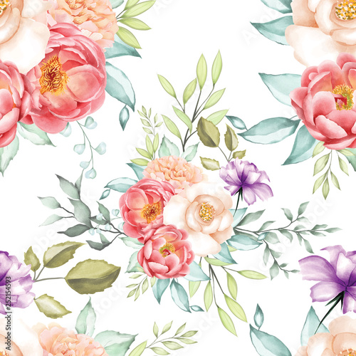 Fototapety, obrazy: watercolor eamless pattern floral and leaves