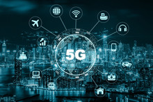 5G Technology With Earth Dot In Center Of Various Icon Internet Of Thing Over The Aerial View Of Hong Kong Cityscape, Wireless Communication Connection Network Concept.