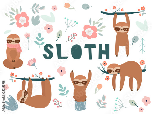 Cute cartoon sloth Canvas Print