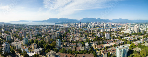 Aerial Panoramic view of a modern city during a sunny summer day. Taken in Vancouver, BC, Canada. - 252165344