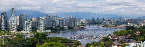 Aluminium Prints Paris Aerial Panoramic view of the modern city during a cloudy summer day. Taken in Downtown Vancouver, British Columbia, Canada.