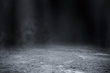 Empty surface of ground pattern with black backdrop wallpaper.