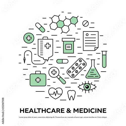 Fototapety, obrazy: Healthcare concept with thin line medical icons