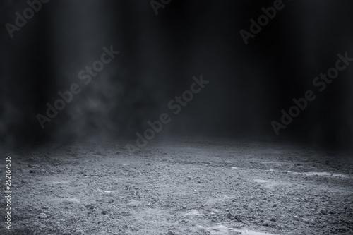 Slika na platnu Empty surface of ground pattern with black backdrop wallpaper.