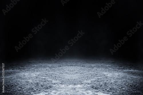 Fototapeta Empty surface of ground pattern with black backdrop wallpaper.