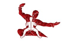 Kung Fu Fighter, Martial Arts Action Pose Cartoon Graphic Vector.