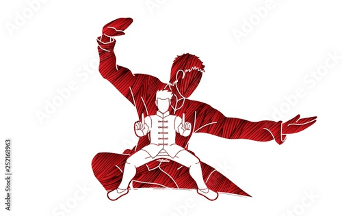 Photo  Kung Fu fighter, Martial arts action pose cartoon graphic vector.