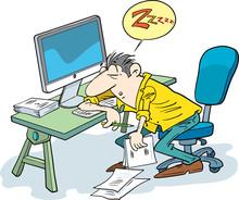 Businessman Sleeping At The Computer. Fatigue At Work