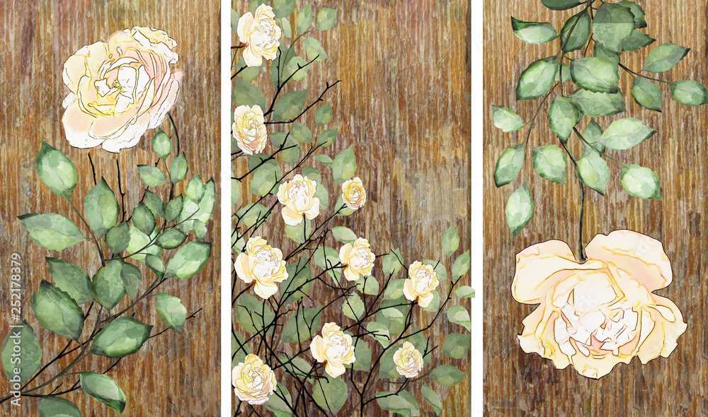 Fototapety, obrazy: Collection of designer oil paintings. Decoration for the interior. Modern abstract art on canvas. White rose.