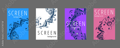 Fotografering Musical banner set with colored key notes