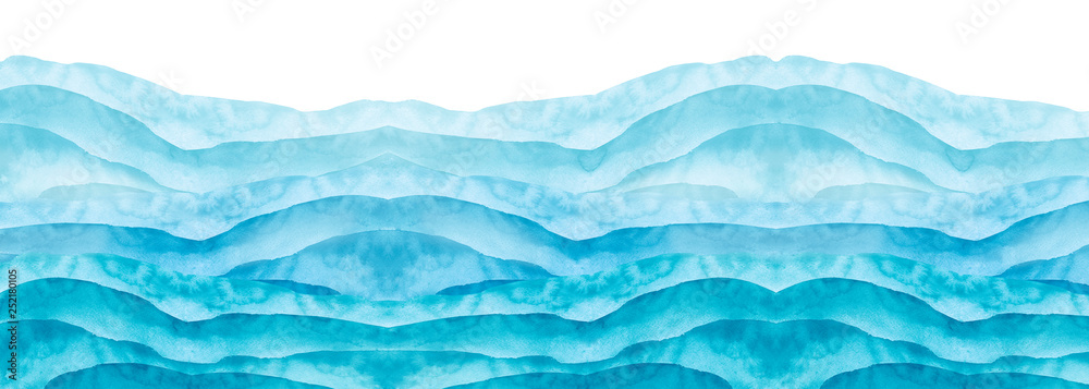 Fototapeta Watercolor line of blue paint, splash, smear, blot, abstraction. Used for a variety of design and decoration. Strokes of paint, lines, splash. Horizontal line,background. Blue sea, Hill, fog mountain