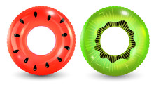 Group Of Colorful Pool Ring Is...