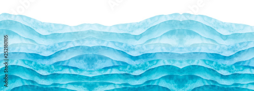 Photo Stands Abstract wave Watercolor line of blue paint, splash, smear, blot, abstraction. Used for a variety of design and decoration. Strokes of paint, lines, splash. Horizontal line,background. Blue sea, Hill, fog mountain