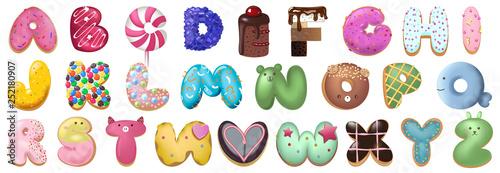 Fotografie, Obraz  Sweet cookie font. Vector letters baking in colored glaze set
