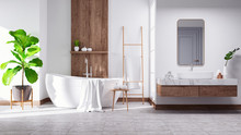 Modern And  Minamalist Bathroom Interior Concept ,white Basin On Wooden Shelf  And White  Bathtub With White Wall,3d Render