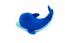 Stuffed Blue Dolphin Doll Isolated On White Background.