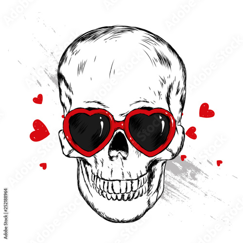 Spoed Foto op Canvas Aquarel Schedel Skull with glasses in the shape of a heart. Vector illustration. Love, Valentine's Day. - Vector