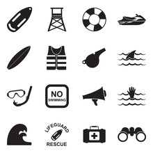 Beach Lifeguard Icons. Black F...
