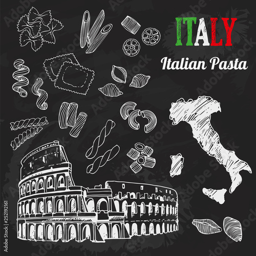 Italian Pasta Set Collection Of Italian Architecture Food