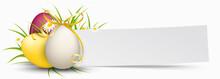 Paper Banner Easter Eggs Golde...