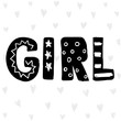 Children poster with handdrawn text isolated on white background. Vector card, hello baby. Vector illustration. It's a girl.