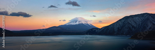 Fotografie, Obraz  Beautiful Fuji mountain on evening  with cold weather at lake side