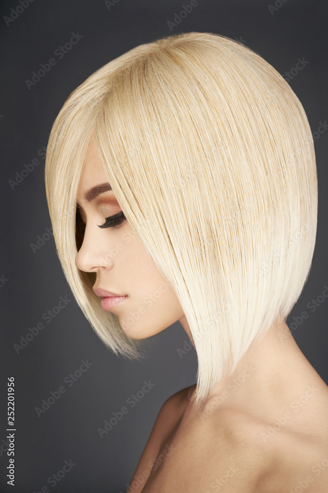 Fototapeta Lovely asian woman with blonde short hair