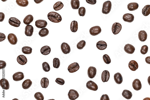 Cadres-photo bureau Café en grains Top view Roasted coffee beans is a frame pattern isolated on white background. To use as a wallpaper image.