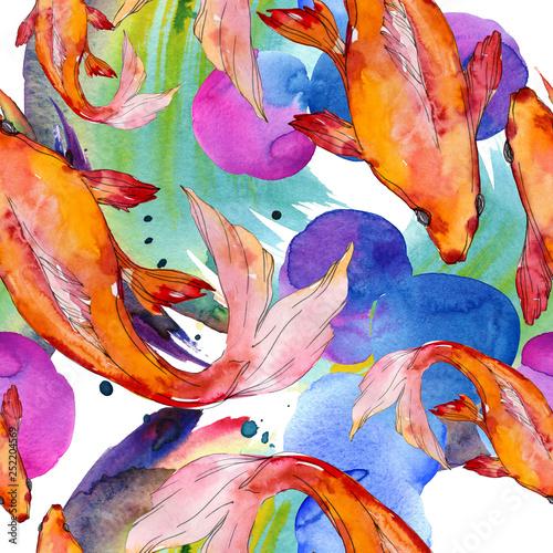Deurstickers Paradijsvogel Aquatic underwater colorful tropical goldfish set. Watercolor background illustration set. Seamless background pattern.